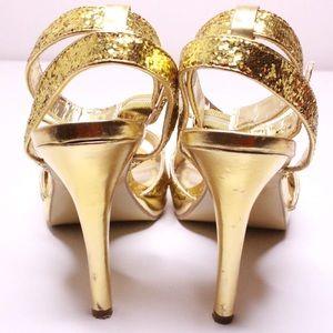 🎄Gorgeous Gold Glitter Heels